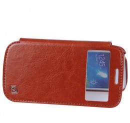 Чехол HOCO Leather Case Crystal View для Samsung Galaxy S4 mini i9190/9192/9195 Brown с окном