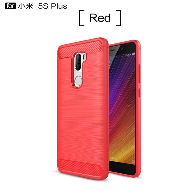 """Накладка силиконовая для Xiaomi Mi5S Plus (5.7"""") под карбон и сталь красная"""
