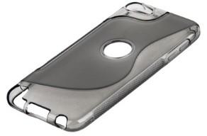 Накладка силиконовая для iPod touch 5 с отверстием под яблоко серая