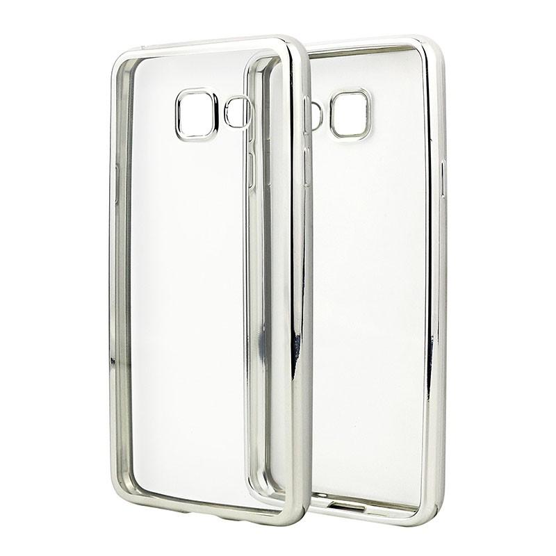 Накладка KissWill силиконовая для Samsung Galaxy A3 (2016) A310 прозрачная с серебристой окантовкой