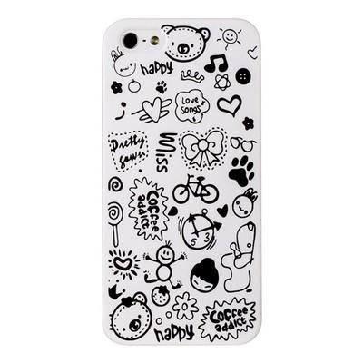 Накладка для iPhone 5s/ iPhone 5 с рисунками белая