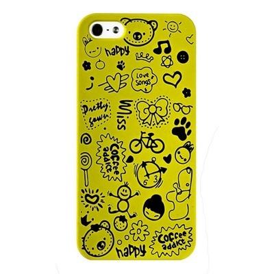 Накладка для iPhone 5s/ iPhone 5 с рисунками желтая