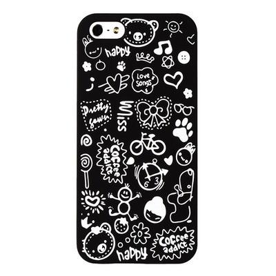 Накладка для iPhone 5s/ iPhone 5 с рисунками черная