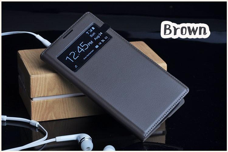 Чехол Flip Cover для Samsung Galaxy S4 mini i9190/ i9192/ i9195 коричневый с окном