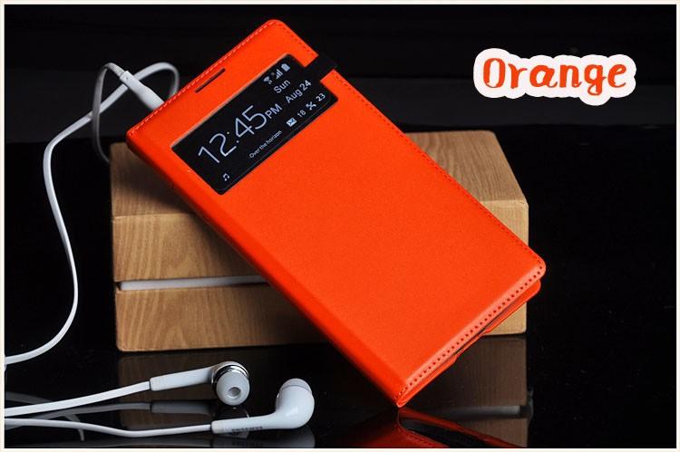 Чехол Flip Cover для Samsung Galaxy S4 mini i9190/ i9192/ i9195 оранжевый с окном