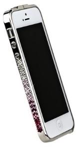 Бампер металлический Newsh для iPhone 5 со стразами бордовыми