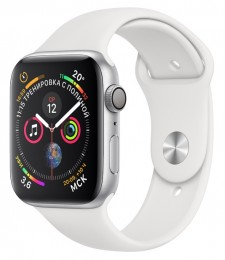 Apple Watch Series 4 GPS 44mm Silver Aluminum Case with White Sport Band (MU6A2) Серебристый/Белый