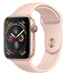 Apple Watch Series 4 GPS 44mm Gold Aluminum Case with Pink Sport Band (MU6F2) Золотистый/Розовый песок